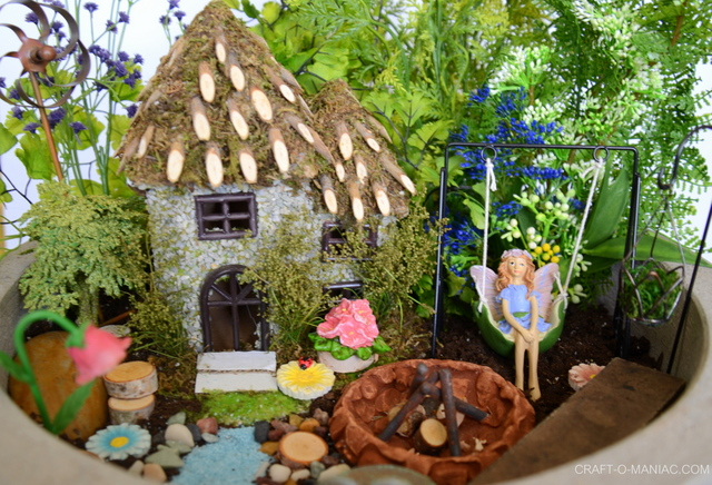 Faux Fairy Garden Planter