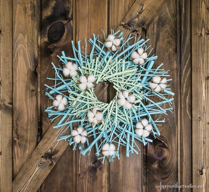 DIY Cotton Bloom Twig Wreath
