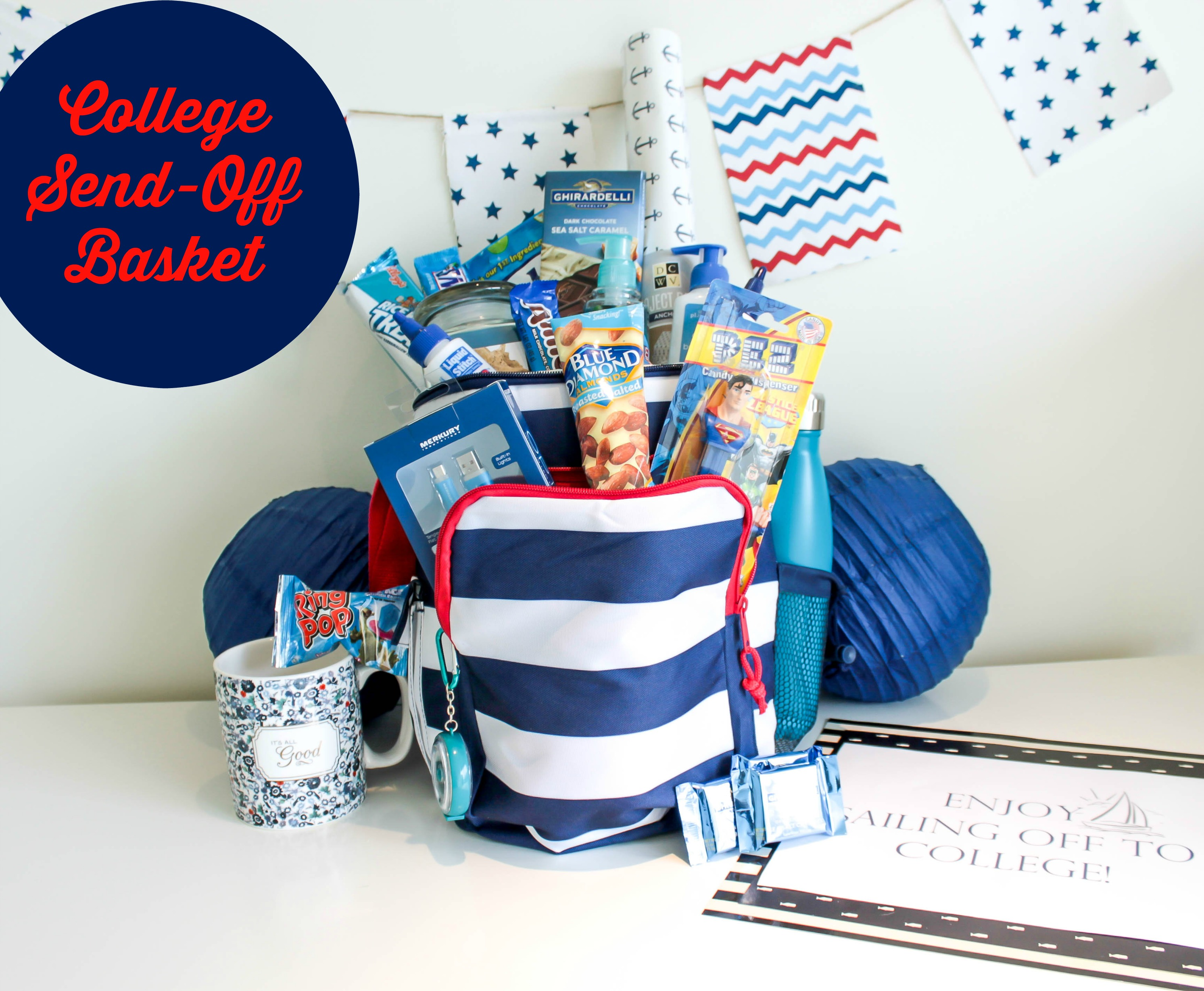 College Send off Basket – Sailing Away to College (Plus Free Printable!)