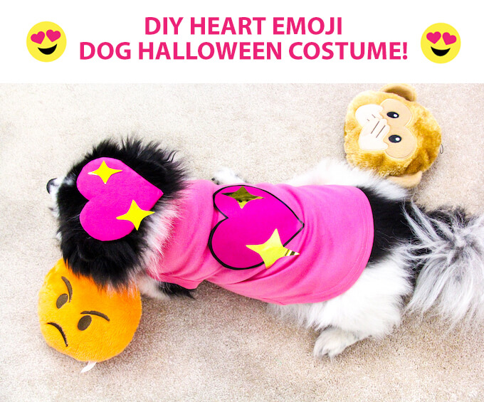 Easy DIY Heart Emoji Dog Halloween Costume