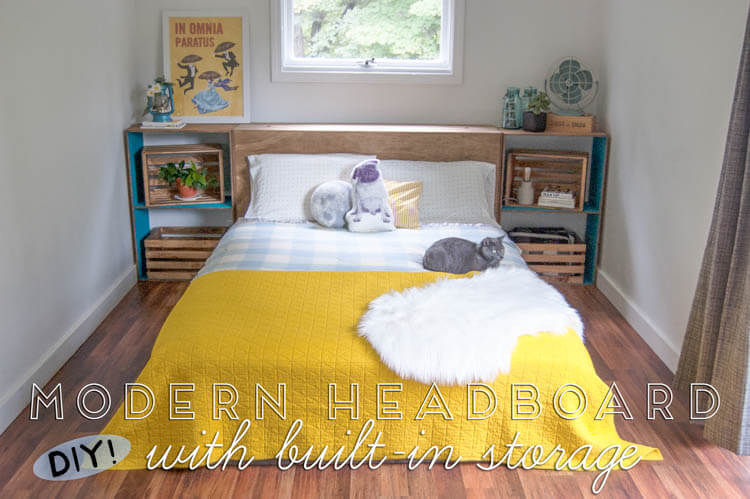 DIY Modern Headboard with Built-In Storage