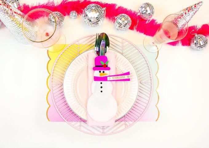 snowman flatware holder