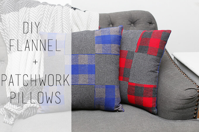 DIY Flannel Patchwork Pillow