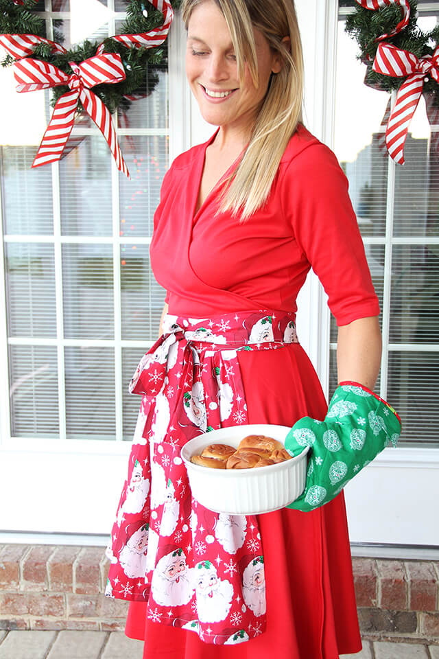 holiday apron oven mitt