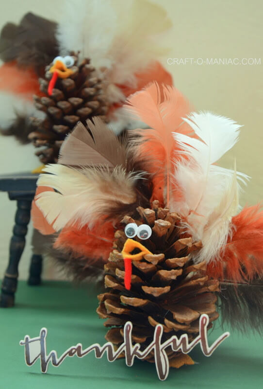 DIY Kids' Craft Pine Cone Turkeys