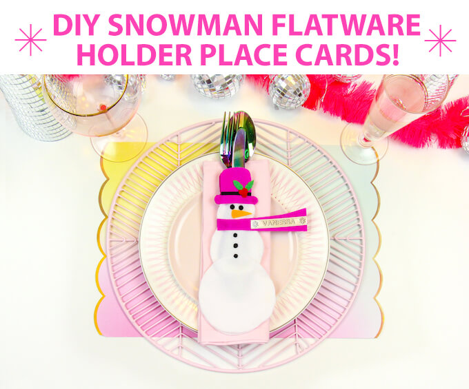 DIY Snowman Flatware Holder Place Cards