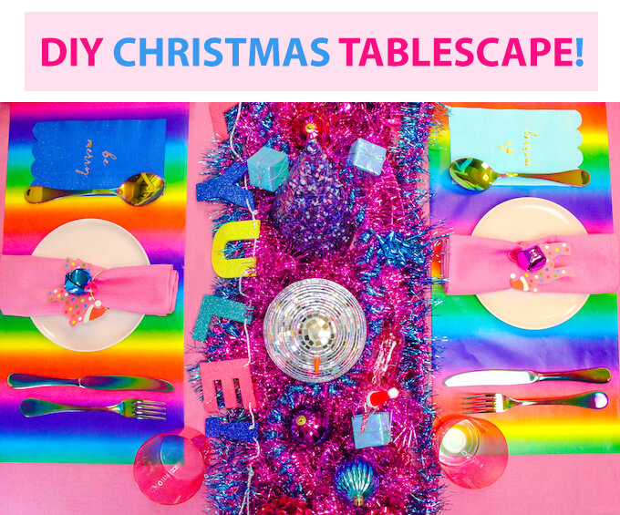 DIY Colorful Christmas Tablescape