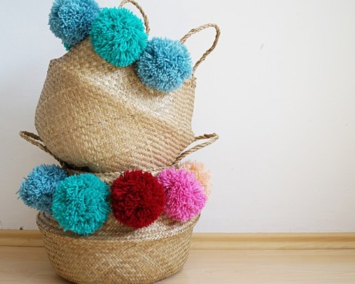 Give Your Storage Basket Some Flair with DIY Pom Poms