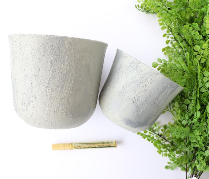 faux concrete planters