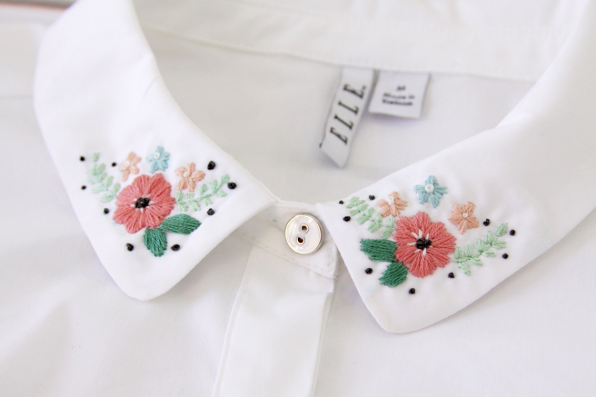 Flower Embroidery on Collar