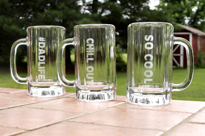 Father's Day Glass Etched Mugs Tutorial