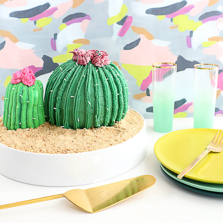 DIY Cactus Cake with Wilton Easy Bloom Flowers