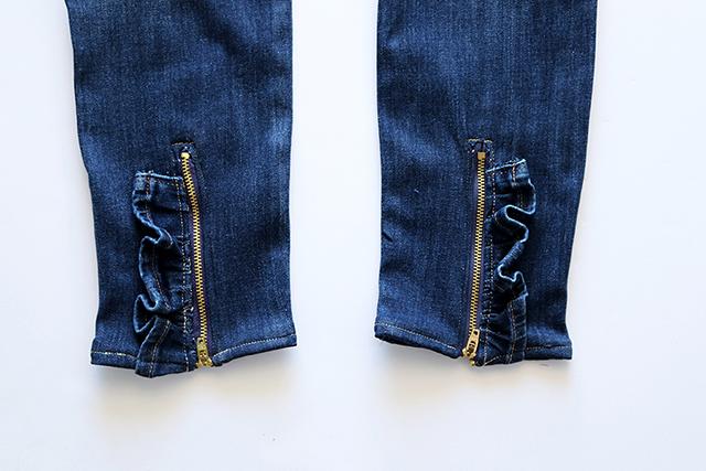 ruffled zipper jeans