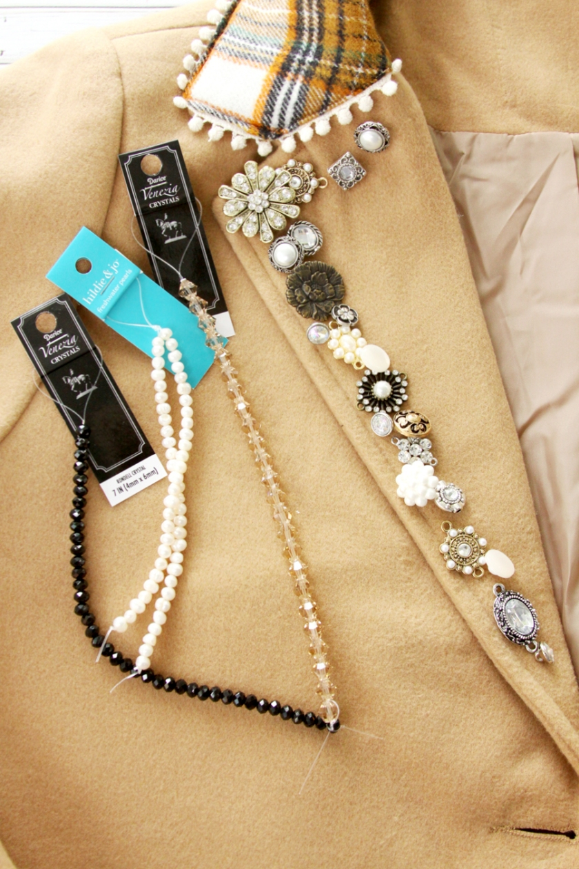 Beads and Buttons for Coat Refashion