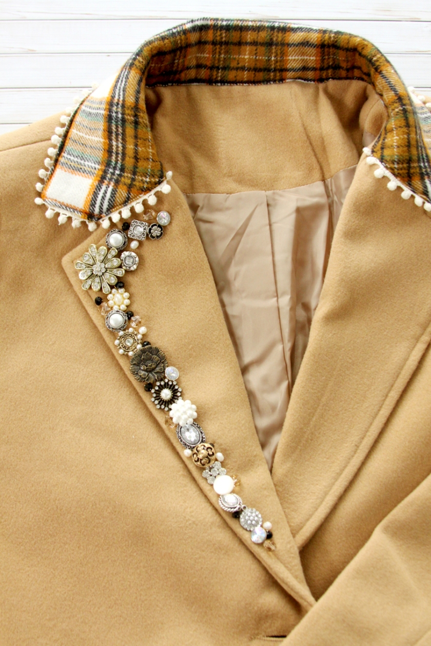 Button and Bead Coat Lapel Refashion