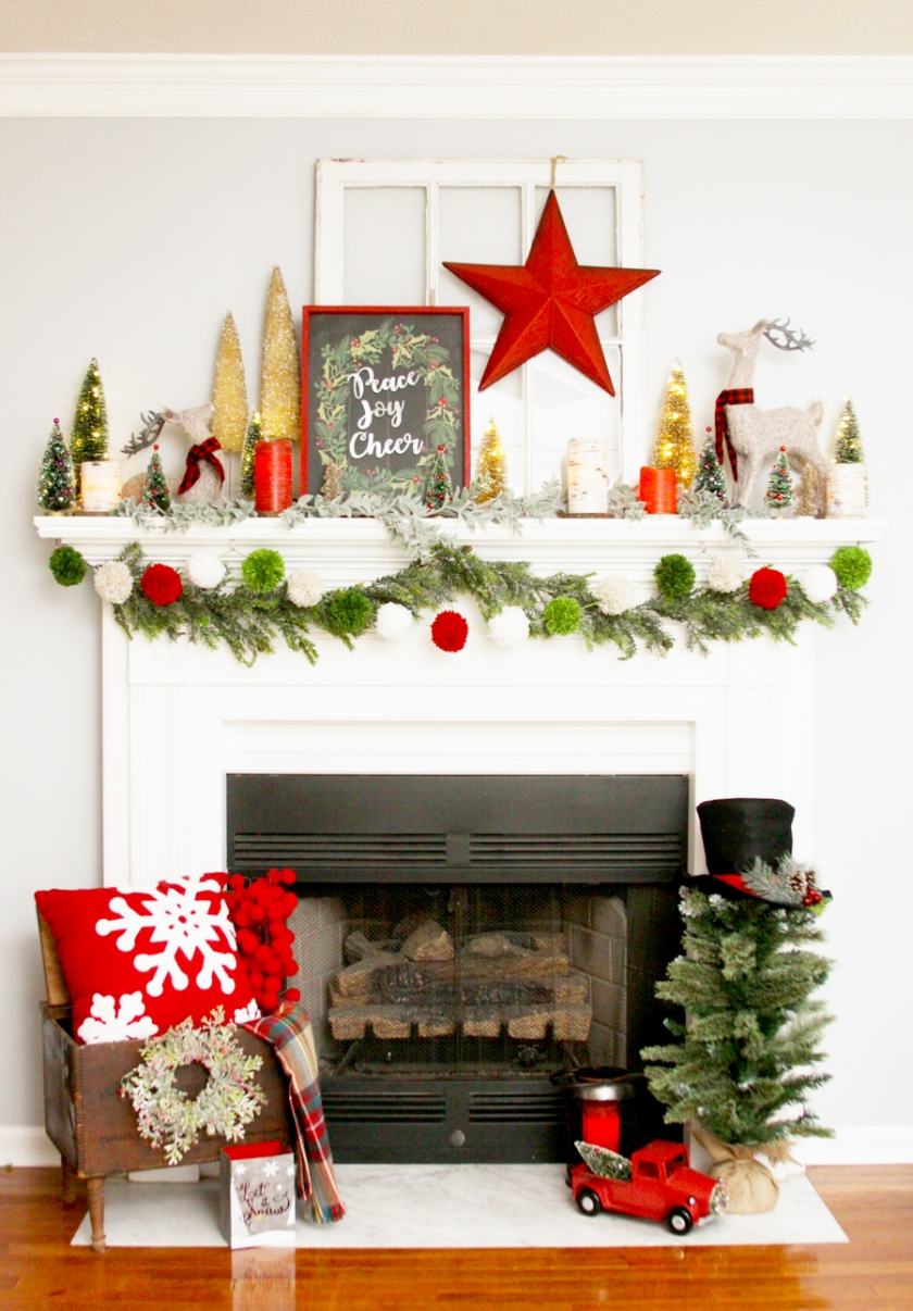 Colorful Christmas Mantel Display