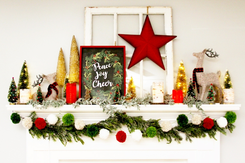 Colorful Christmas Mantel with Pom Pom Garland