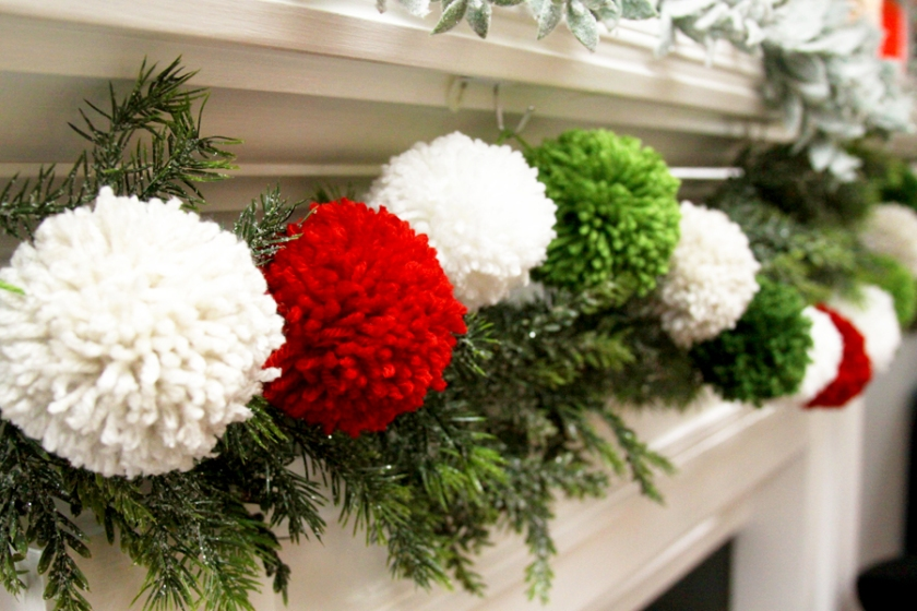 Fluffy Pom Pom Christmas Garland