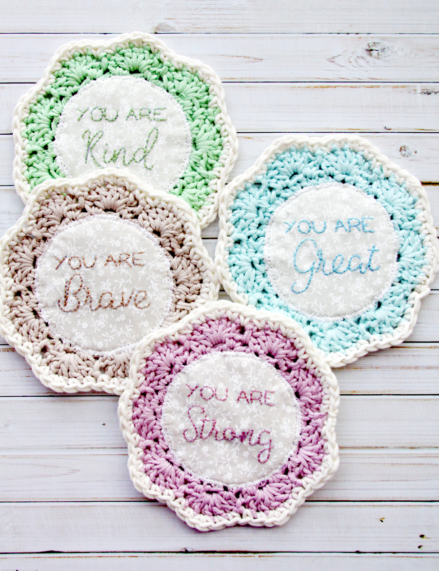 Empowering, Embroidered Crochet Coasters