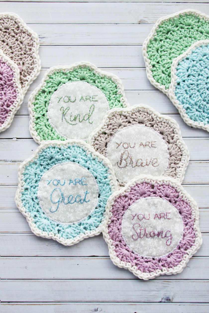 Embroidered Crochet Coaster Set