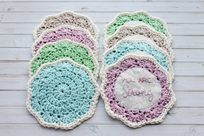 Pretty Crochet Coasters with Embroidery