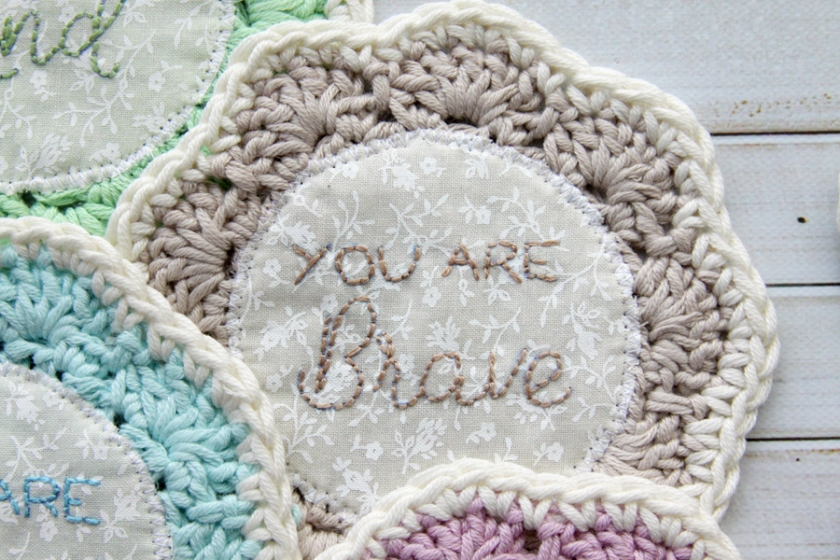 You Are Brave Embroidered Coaster