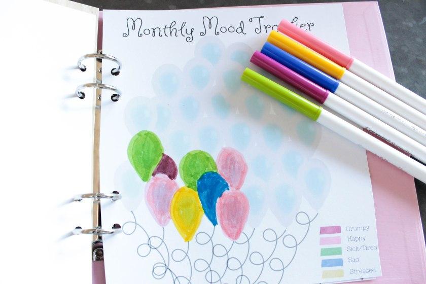Balloon Mood Tracker Free Printable