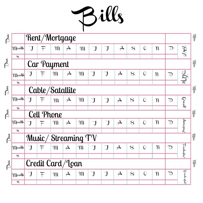 Bill Tracker Printable